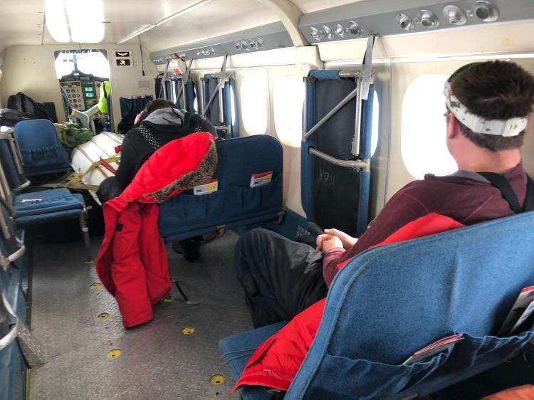 Inside the Twin Otter en route to Cape Hallett