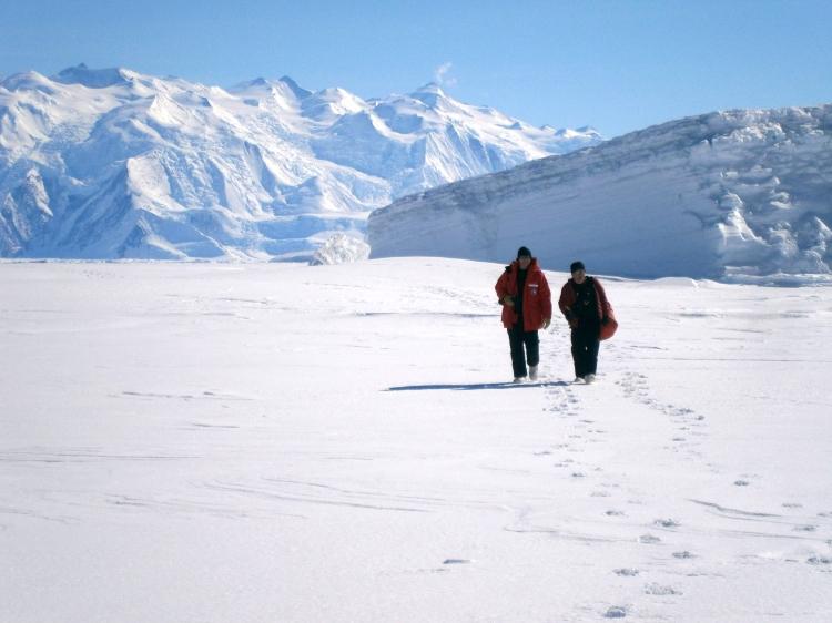 Scott Landolt and Mark Seefeldt walking at Cape Hallett