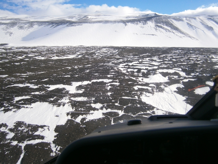 Approaching Minna Bluff, aerial view