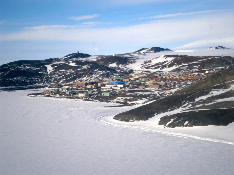 McMurdo, flying in from a helicopter