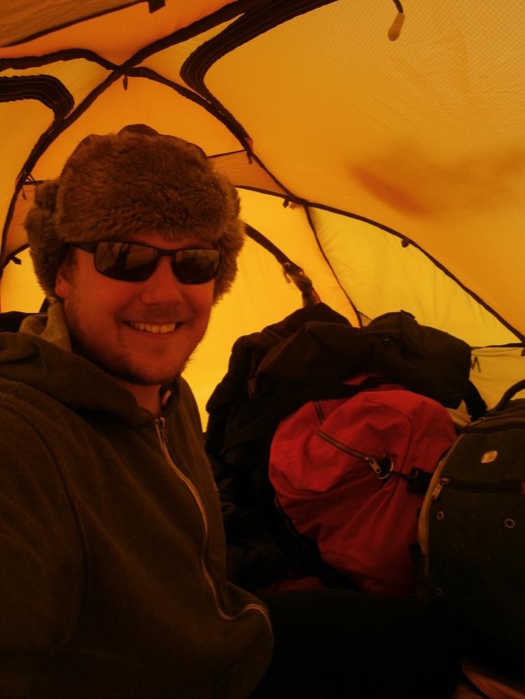 Selfie inside the mountain tent, WAIS Divide